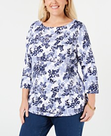 Charter Club Plus Size Cotton 3/4-Sleeve T-Shirt, Created for Macy's
