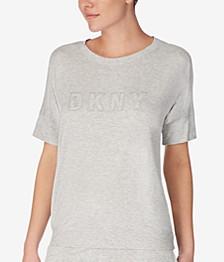 Ribbed-Trim Knit Pajama Top