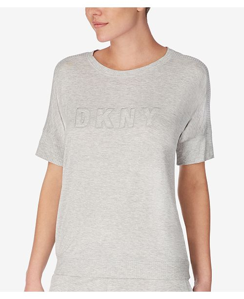 DKNY Ribbed-Trim Knit Pajama Top