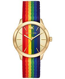 Michael Kors Women's Slim Runway Rainbow Nylon Strap Watch 38mm