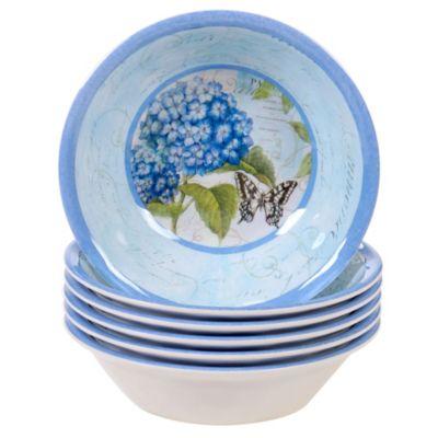 Hydrangea Garden Melamine 6-Pc. All Purpose Bowl Set