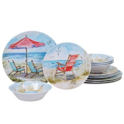Ocean View Melamine 12-Pc. Dinnerware Set