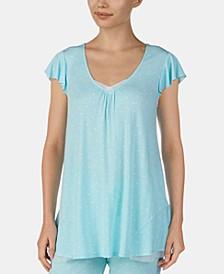 Mesh-Trim Flounce-Back Printed Pajama Top