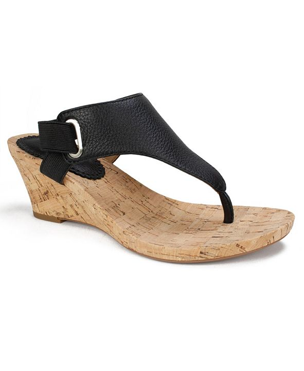 White Mountain Women's All Glad Cork Wedge Sandals