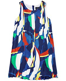 Little Girls Sailboat Pleated Satin Dress