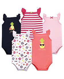 Sleeveless Cotton Bodysuits, 5 Pack, 0-24 Months