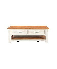 Rustic Collection Coffee Table, Antique White And Honey Tobacco