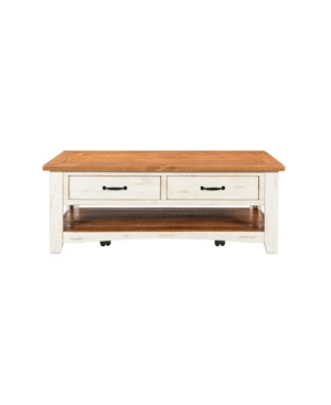 Martin Svensson Home Rustic Collection Coffee Table, Antique White And Honey Tobacco