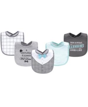Little Treasure Babies' Cotton Drooler Bibs, 5 Pack In Gray