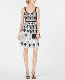 Adrianna Papell Hand-Beaded A-Line Dress