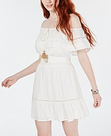 Juniors' Off-The-Shoulder Tassel-Tie Dress, Create for Macy's