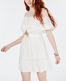American Rag Juniors' Off-The-Shoulder Tassel-Tie Dress, Create for Macy's