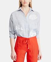 914e7936f4412 Lauren Ralph Lauren Embroidered Relaxed Fit Linen Shirt