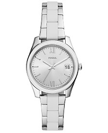 Fossil Women's Scarlette Mini White Silicone & Stainless Steel Bracelet Watch 32mm