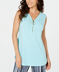 JM Collection Sleeveless Zip Top, Created for Macy's