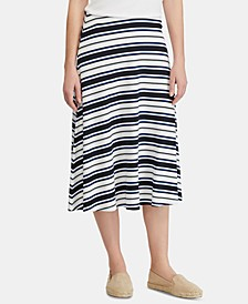 Fit & Flare Striped Skirt