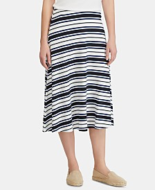 Lauren Ralph Lauren Fit & Flare Striped Skirt