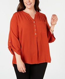 NY Collection Plus Size Split-Neck Top