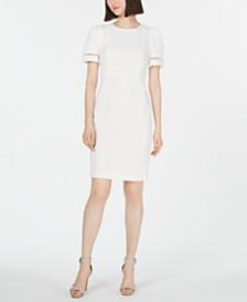Calvin Klein Short-Sleeve Eyelet Sheath Dress