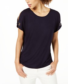 Calvin Klein Split-Sleeve Top