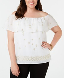 JM Collection Plus Size Embroidered Off-The-Shoulder Top, Created for Macy's