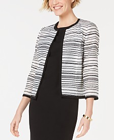Kasper Striped Open-Front Blazer