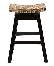 Carnation Coconut Shell Inlay Counter Stool
