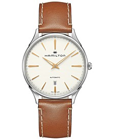 Men's Swiss Automatic Jazzmaster Thinline Brown Leather Strap Watch 40mm