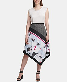 Mixed-Print Asymmetrical Skirt