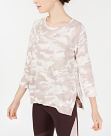 Calvin Klein Performance Camo-Print Split-Side Top