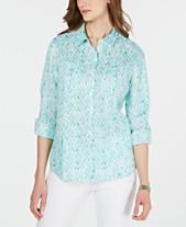 fe512dff Charter Club Petite Seahorse Diamonds Linen Utility Shirt, Created for  Macy's