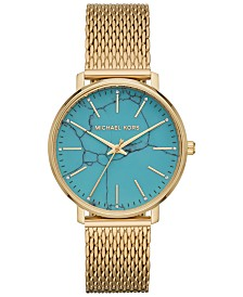 Michael Kors Women's Pyper Gold-Tone Stainless Steel Mesh Bracelet Watch 38mm