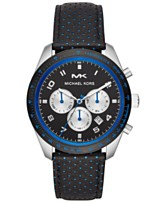 2d2a399a5503 Michael Kors Men s Chronograph Keaton Black Leather Strap Watch 43mm