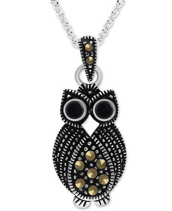 """Macy's Onyx & Marcasite Owl 18"""" Pendant Necklace in Fine Silver-Plate"""