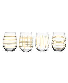 Weston Gold Stemless Glass - Set of 4