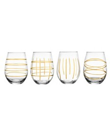 Jay Imports Weston Gold Stemless Glass - Set of 4