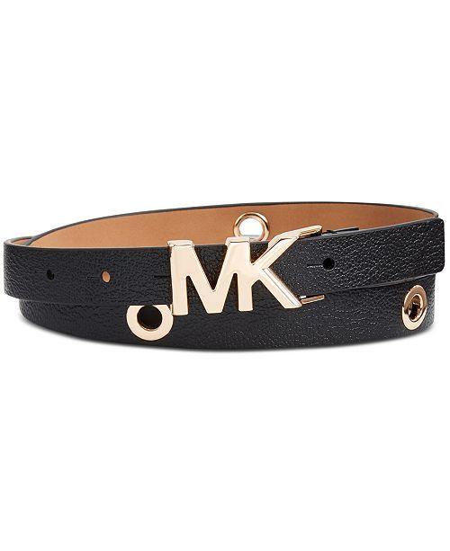 Michael Kors Leather Logo Collar Grommet Belt