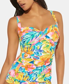 Bleu by Rod Beattie D-Cup Floral-Print Twisted Tankini Top