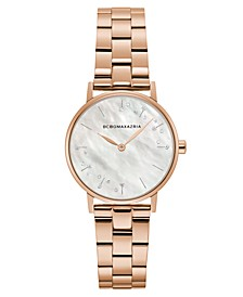 Ladies Round Rose Goldtone Stainless Steel Bracelet Watch, 32mm