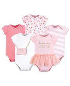 Little Treasure Cotton Bodysuits, 5 Pack, 0-24 Months