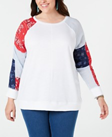 Style & Co Plus Size Patchwork-Sleeve Sweatshirt, Created for Macy's