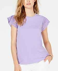 MICHAEL Michael Kors Cotton Lace-Sleeve T-Shirt, in Regular & Petite Sizes