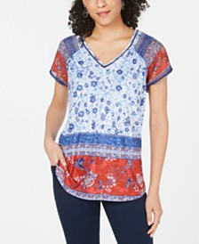 Style & Co Floral-Print V-Neck Top, Created for Macy's