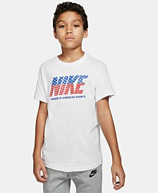 Nike Big Boys Red, White & Blue Logo Cotton T-Shirt