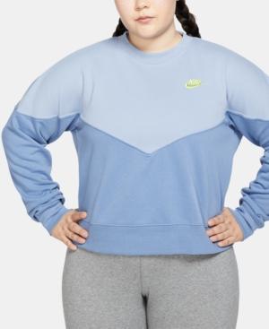 Nike Plus Size Sportswear Heritage Cropped Fleece Sweatshirt In Indigo Storm