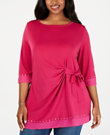 Belldini Plus Size Embellished Chiffon-Trim Tunic
