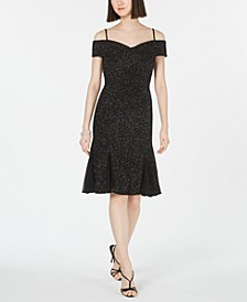 Cold-Shoulder Glitter Sheath Dress