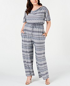 Plus Size Split-Sleeve Jumpsuit