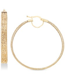 Italian Gold Greek Key Mesh Hoop Earrings in 14k Gold