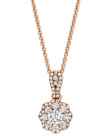 "Le Vian® Diamond 18"" Pendant Necklace (1/2 ct. t.w.) in 14k Rose Gold"